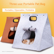 купить Travel Pet Cat Carrier Tote Puppy Cat Carrying Outdoor Bag Felt Pet Nest Cat Dog Outing Bag Cat Kennel Foldable Cat Tent по цене 1035.59 рублей