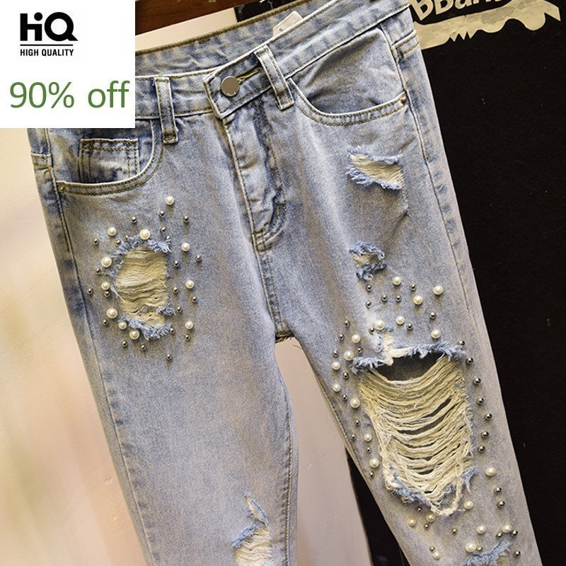 Hot Sale Summer Embroidered Flares Hole Ripped Womens Denim Trousers High Waist Slim Ankle Length Streetwear Female Harem Pants