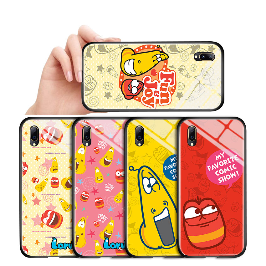 For <font><b>Vivo</b></font> Y53 Y55 Y66 Y67 <font><b>Y69</b></font> V5 Luxury <font><b>3D</b></font> Cartoon Korea Larva Character Casing Red and Yellow Glossy Tempered Glass <font><b>Case</b></font> Cover image
