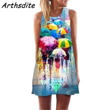 Arthsdite New Summer Print Floral Dress Women O Neck Sleeveless Chiffon Bohemian Dresses Beach Midi Female Mini