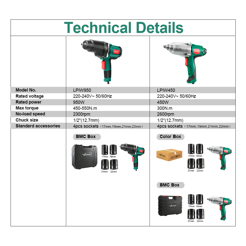 450W Torque Electric 4pcs Wrench Socket 1 Electric Inch Tool Impact Wrench 950W 2 Power Tire Max Sockets Changing
