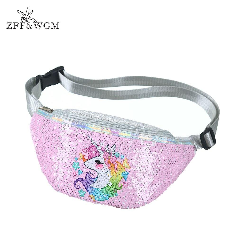 ZFF&WGM Sequins Printing Unicorn Sequin Fashion Waist Bag Fanny Pack Children Cartoon Chest Bag Outdoor Travel Pocket Phone