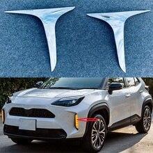 Para toyota yaris cruz 2020 2021 chrome exterior auto frente luzes de nevoeiro lâmpada tiras guarnição capa adesivos estilo do carro