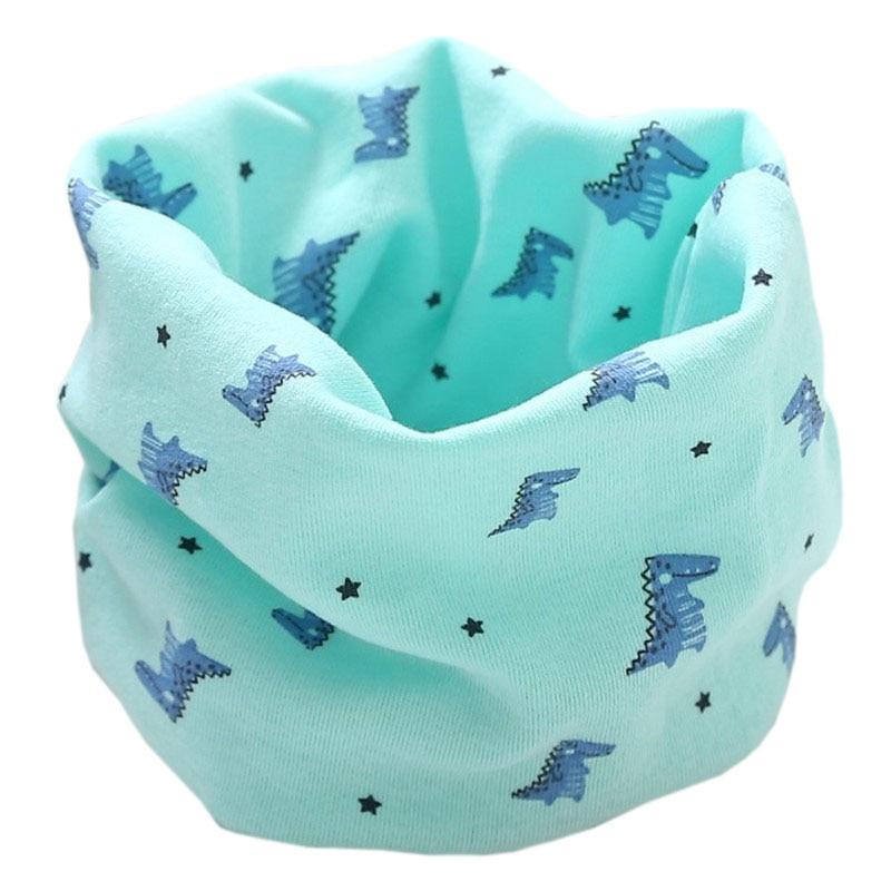 Новинка; Модный хлопковый шарф для маленьких девочек; осенне-зимний шарф для маленьких мальчиков; Детский шарф с круглым вырезом; Детские шарфы; волшебный шейный платок - Цвет: green dinosaur
