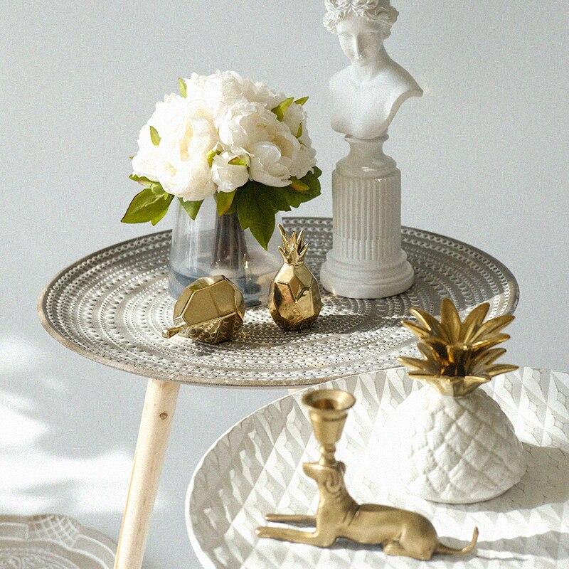 Table basse Simple ronde Pots de fleurs littéraire créative porte boutique B & B rétro dans le Style nordique petite Table d'appoint coin WY115040 - 2