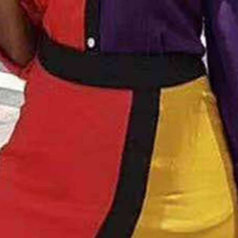 2019 Moda Bloco de Cor Listrado Bodycon Vestido Camisa Do Vintage Feminino Roxo Amarelo Lapela Mulheres Apertado Escritório Vestido Midi Cintura Alta