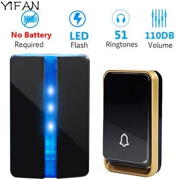 Timbre inalámbrico autoalimentado YIFAN sin batería enchufe UE EE. UU. AU cubierta impermeable de la campana de la puerta de casa rango de 150M 1 botón 1 receptor