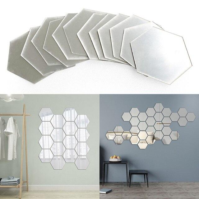 DIY 3D Mirror Wall Sticker 10PCs/Set  Hexagon Self Adhesive Acrylic Home Decor Mirror Decor Stickers Art Wall Decoration Stickers 1