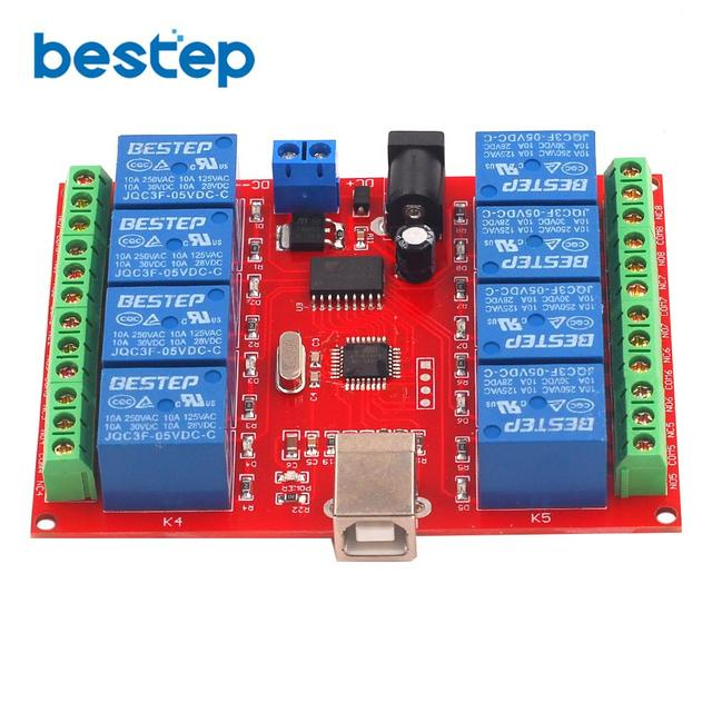 5V 12V 24V 8 Channel Programmable Relay Module USB Computer Control For Smart Home