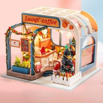 Muebles de casa de muñecas de madera fina para la familia de los niños DIY hecho a mano decoración del hogar casa de muñecas de madera Kits para las niñas Mini Cafetería