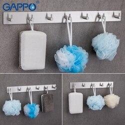 Gappo robe ganchos 5 gancho de roupas ganchos de aço inoxidável montagem na parede suporte de torre de montagem na parede do banheiro multi-funcional toalha cabide