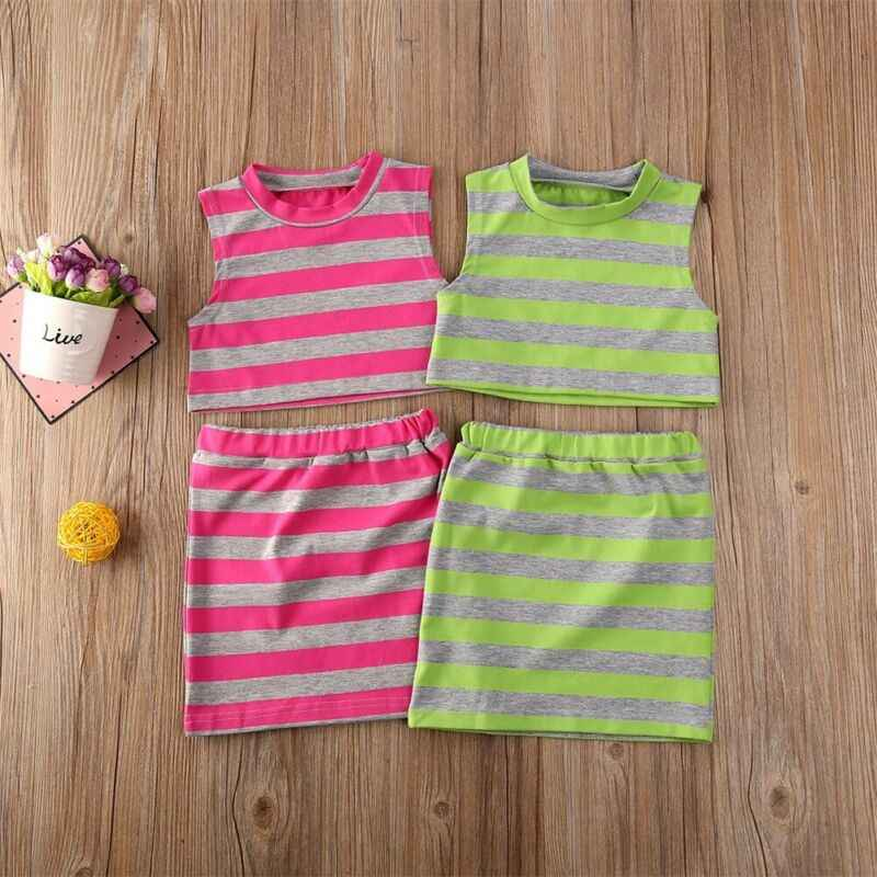 Zomer Peuter Kid Meisjes Kleding Mouwloze Gestreepte Vest Crop Tops Rok Meisjes Causale 2 Stuks Outfit Set