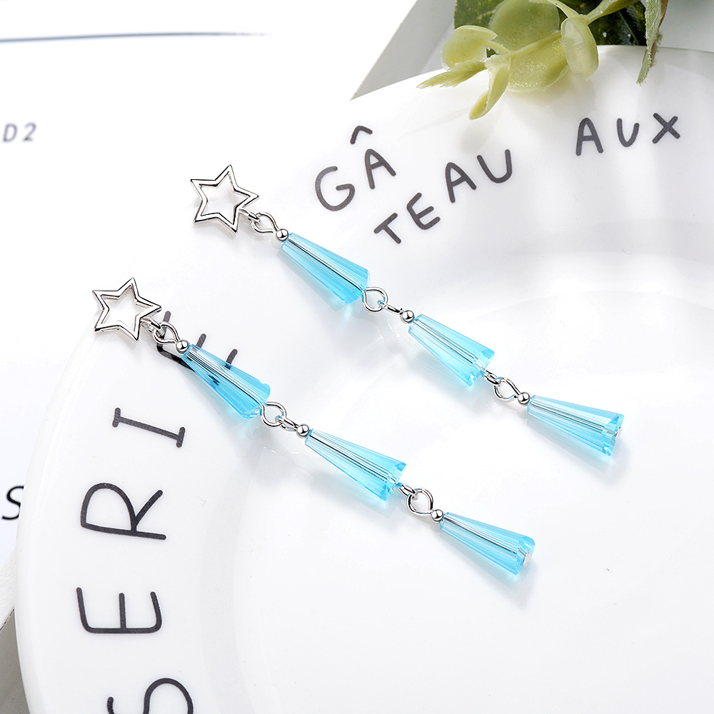 MEETSOFT Silver Plated Prevent Allergy Drop Earring for Women Trendy Design Long Chain Blue Crystal Hollow Out Star Jewelry Gift