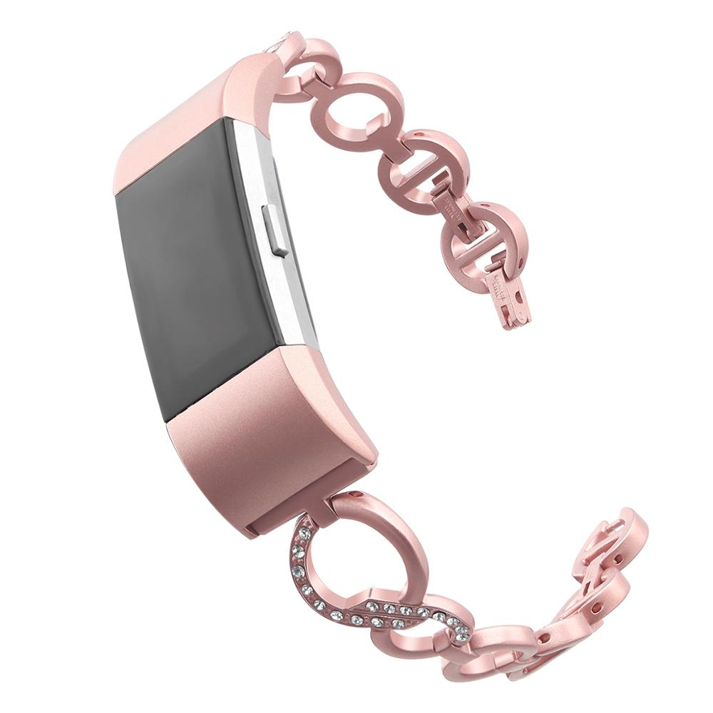 Mode Roestvrij Staal Dame Ketting Band Horloge Band Voor Fitbit Lading 2 Metalen Strass Armband Verstelbare Bandjes Accessoires-in Horlogebanden van Horloges op title=