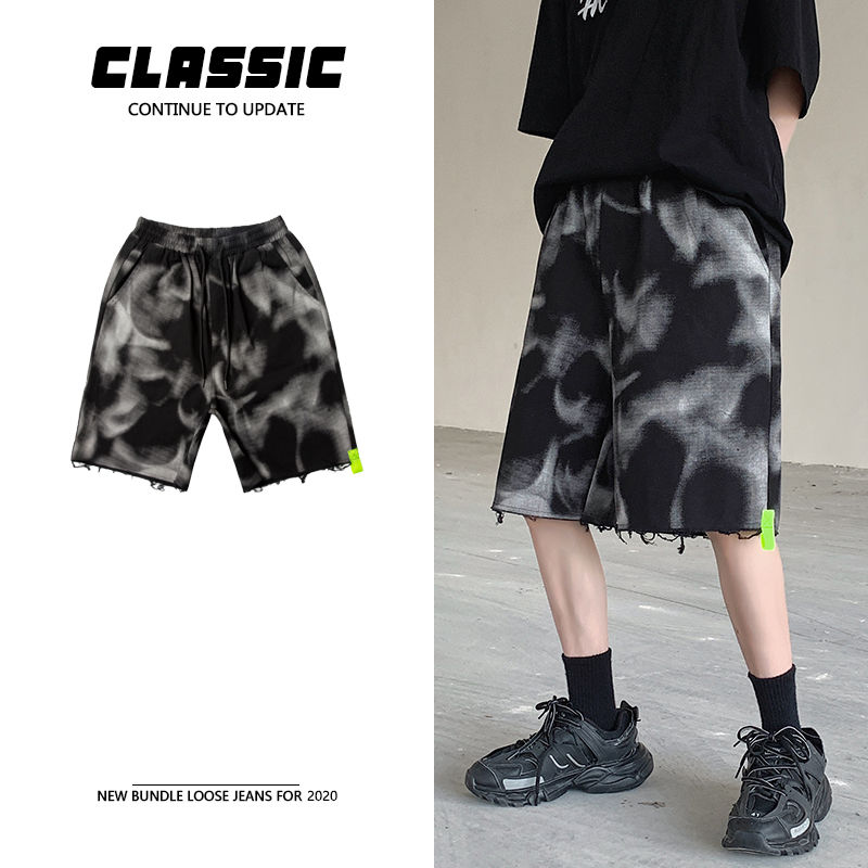 Men's shorts 2020 summer new slim ink print five-minute pants shorts casual casual fashion personality youth men's wear