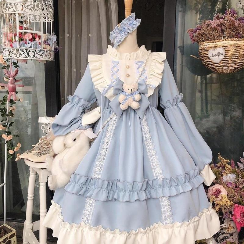 Японская Готическая Лолита платье для женщин Kawaii загнутая Мишка кружевное синее платье принцессы с длинным рукавом костюм для Хэллоуина, п...