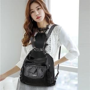 Image 3 - Sıcak deri lüks çanta kadın çanta tasarımcısı çok fonksiyonlu omuz çantaları kadınlar için 2020 seyahat sırt çantası Mochila Feminina Sac