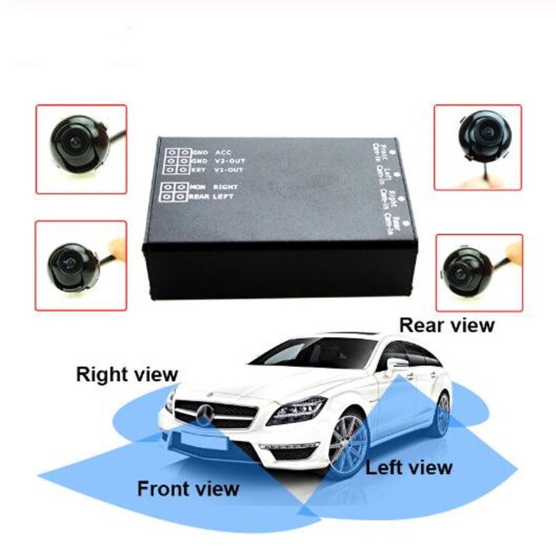 Rear View Back UP Cameras Control Box 4 Way Cameras 360 View Car Camera Switch System For Rear Left Right Size Front Camera