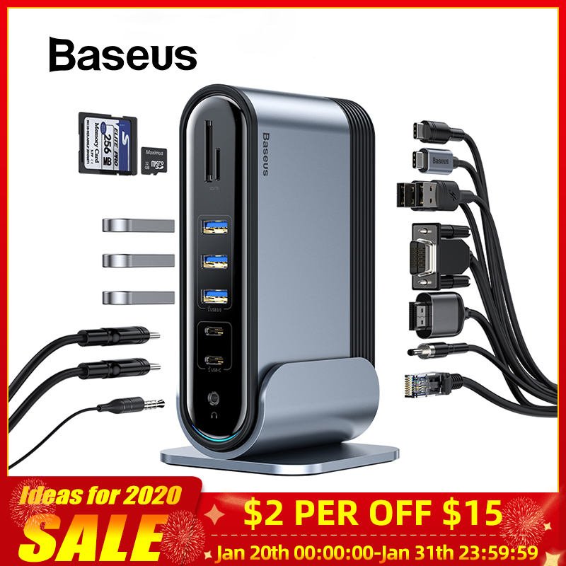 Baseus Type C USB HUB Multi-function Adaptor USB C Hub Docking Station For Macbook Pro USB Splitter Computer Accessories 17 Port