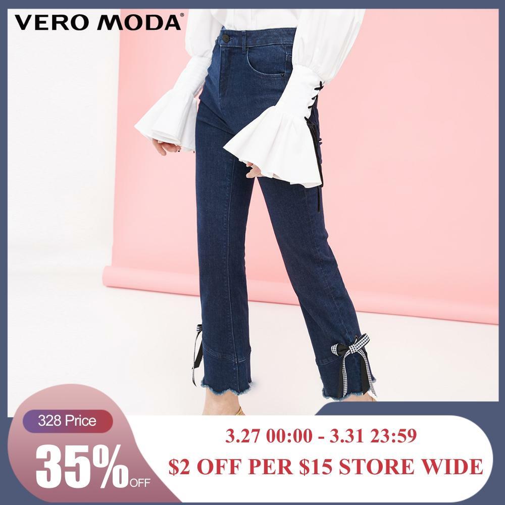 Vero Moda Women's Ins Style Decorative Bowknot Lycra Jeans | 319149544