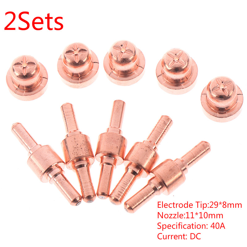 2Set Copper Air Plasma Cutting Cutter Consumables Extended TIP Nozzle Electrode
