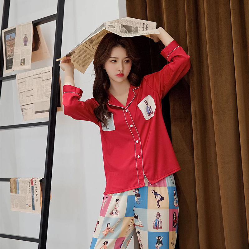 Soft Female 2PCS Shirt&Pants Sleep Set Classic Nightwear Pijamas Suit With Button Casual Sleepwear Lougne Home Clothing Negligee