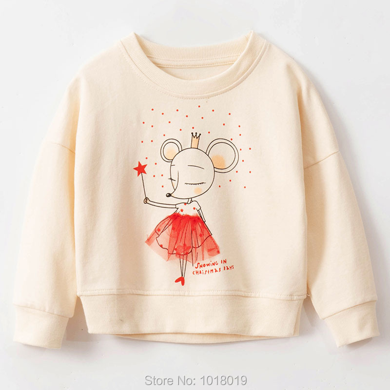Infant Girls Tops Fleeces Sweatshirt 100% Terry Cotton Sweater Children t shirt Kids Hoodies Blouses Baby Girl Clothes Tee Mouse 1