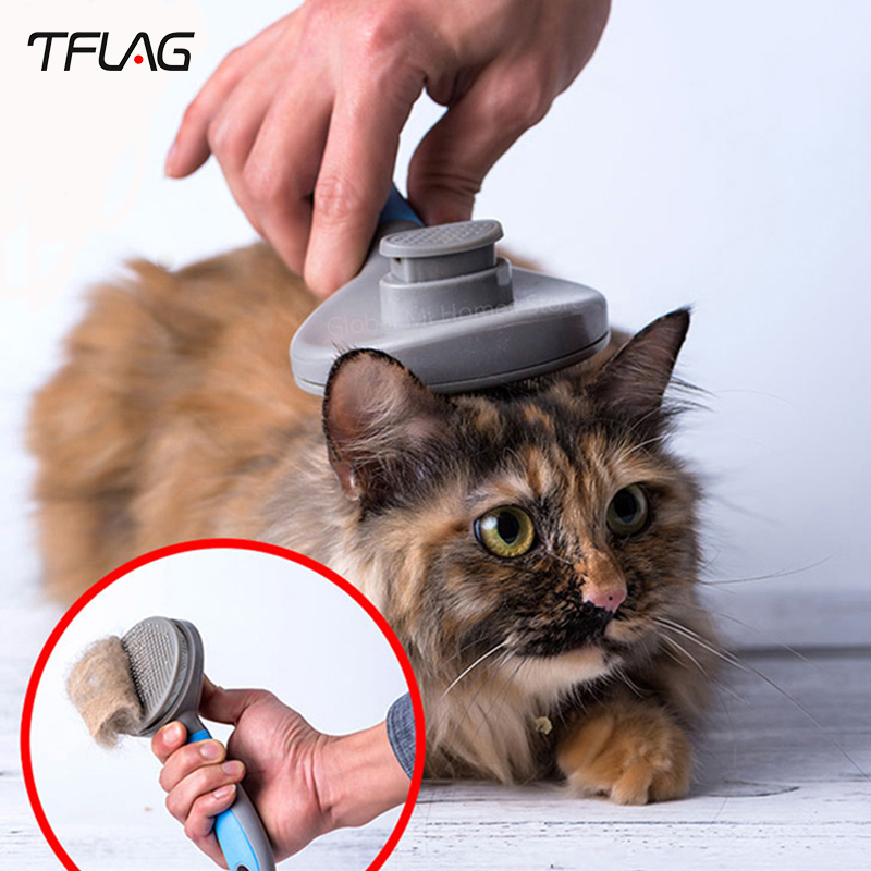 TFlag Innovate Pet Cat Hair Removal Brush CombPet Grooming Tools Hair Shedding Trimmer Comb for Cats Smart Remote Control     - title=