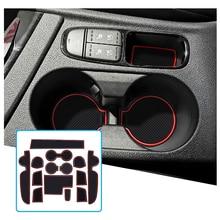 RUIYA For Niro 2016 2017 2018 Car Door Groove Mat Anti slip Slot Pad Auto Interior Organizer Accessories Red 14 Pcs