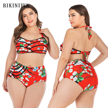 New Sexy Plus Size Swimsuit Red Floral Print Bikini Women Backless Swimwear L-4XL Girl High Waist Bathing Suit Halter Bikini Set plus floral print bikini set