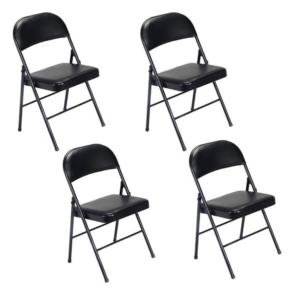 4pcs Elegant Foldable Iron & PVC Chairs For Convention & Exhibition Black Steel Folding Chairs For Living Room