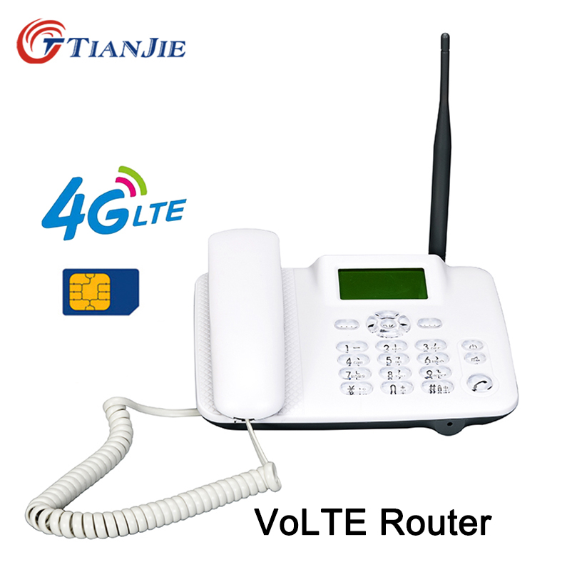 TianJie 4G VoLTE Wifi Router Drahtlose Festnetz Stimme Rufen Router Hotspot Breitband Fest Telefon Mit Sim Slot LAN Port