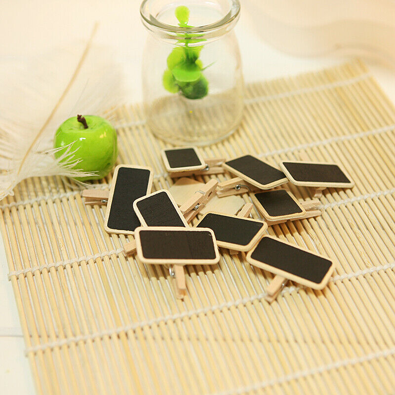 Mini Wooden Blackboard Memo Sign Message Small Note Stand Clip For Food Labels Party KQS8