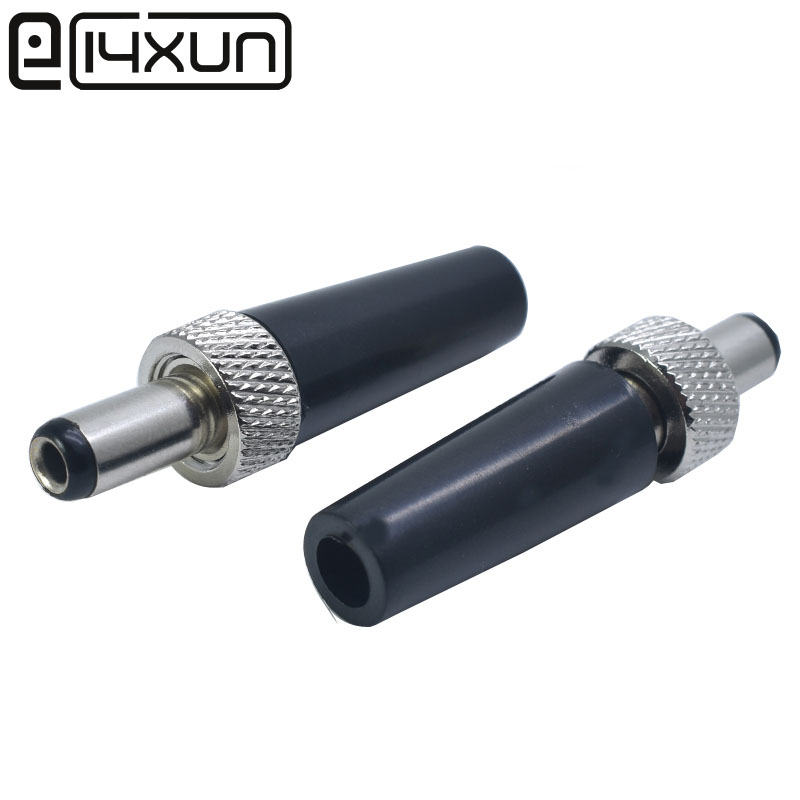 EClyxun 1pcs Circle Tube Lockable 5.5x2.1/5.5x2.5 Mm DC Male Power Plug With Screw Nut Locking Connector Black
