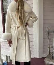 Oftbuy casaco de pele real feminino, jaqueta de inverno para mulheres, gola de pelo de raposa natural, misturas de lã, roupa exterior 2020