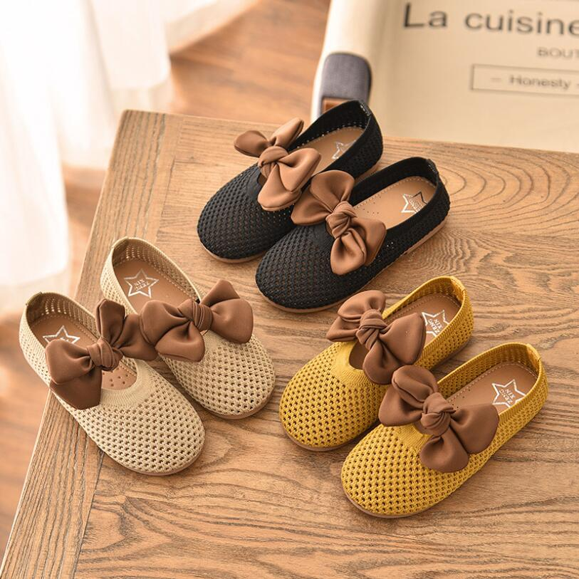 Spring New Big Bowtie Girls Shoes Solid Color Flat Children Dancing Shoes Size 21-30 Toddler Girl Shoes Knitted Moccasins
