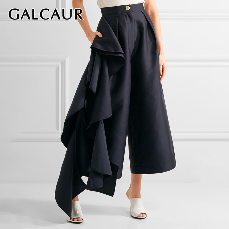 GALCAUR Ruffle Trousers For Women High Waist Oversize Asymmetrical   Wide     Leg     Pants   Female Clothes Korean 2019 Autumn Fashion New