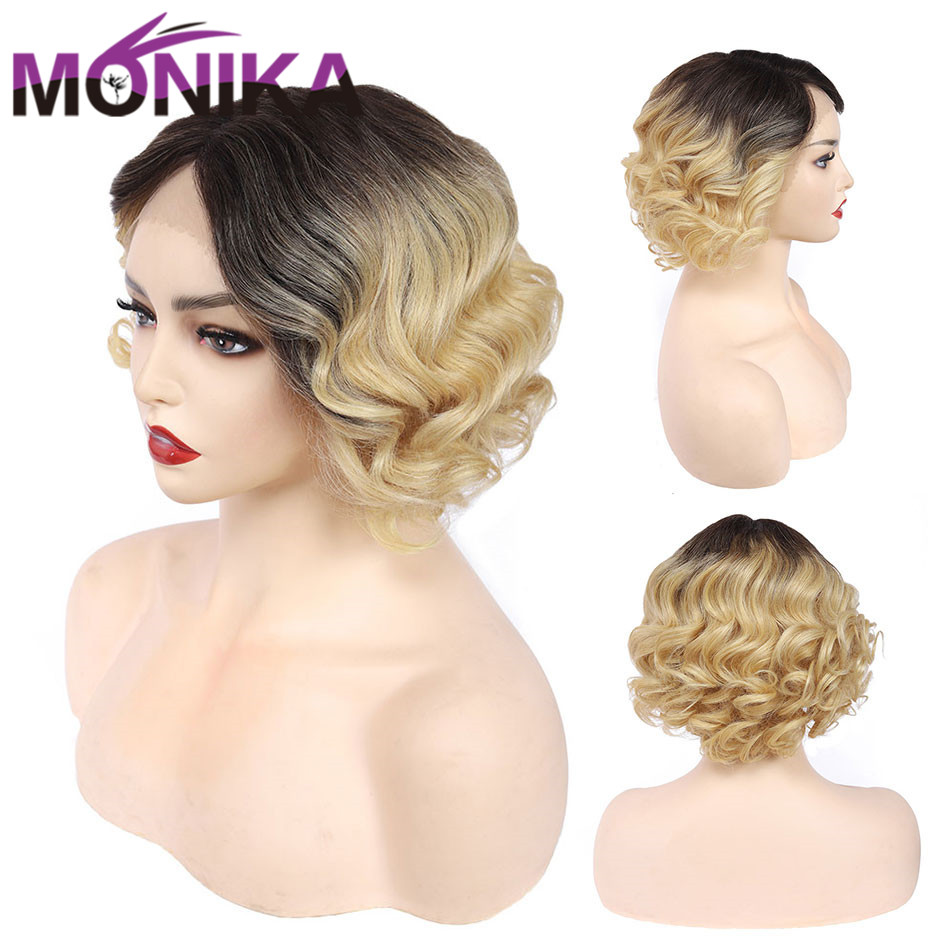 T4/613 Color Ombre Short Human Hair Wig Body Wave U Part Wig 150% Remy Peruvian Lace Bob Wig Monika Cheap Wigs For Black Women