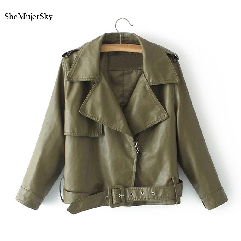 SheMujerSky Women Army Green Pu   Leather   Coat Zipper Turn-down Collar Winter Jackets Pink Womens Coats chaqueta mujer
