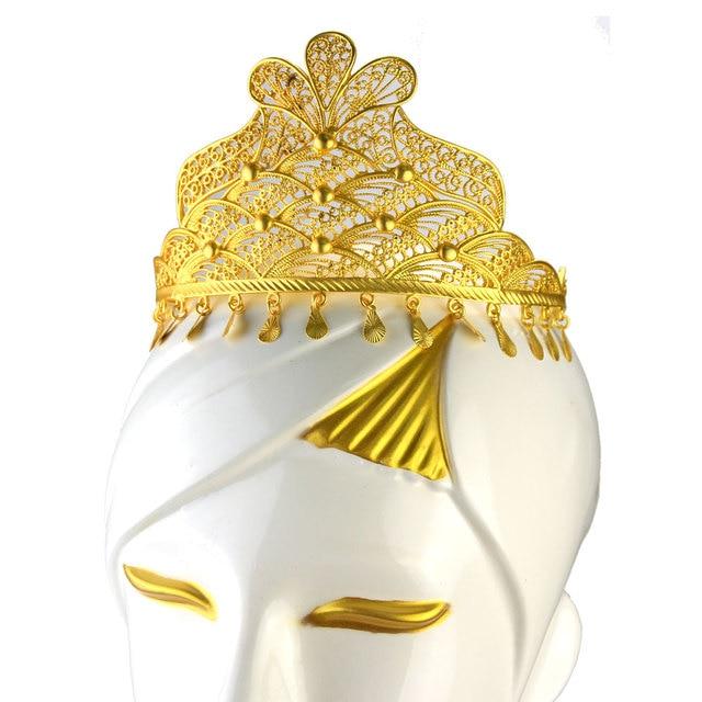 Sunspicems Gold Farbe Algerischen Hochzeit Tiaras und Krone Haar Zubehör für Frauen Ethnische Afrikanischen Schmuck Braut Geschenk