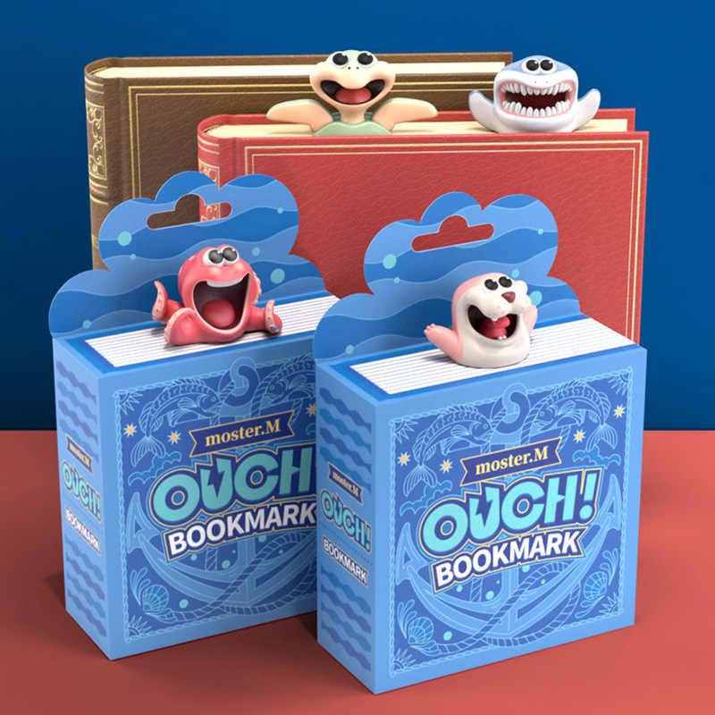 Marcapáginas con diseño de tortuga y tiburón en forma de pulpo, decoración divertida para manualidades, marcapáginas de libros, papelería para estudiantes, suministros de oficina