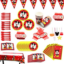 Straws Flags Plate Birthday-Party-Supplies Disposable Tableware Mickey Kids Disney Decor
