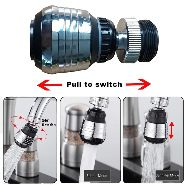 ZhangJi 360 Rotating Water Saving Tap Connector Dual Mode Kitchen Faucet Aerator Diffuser Bubbler Filter Shower Head Nozzle 1