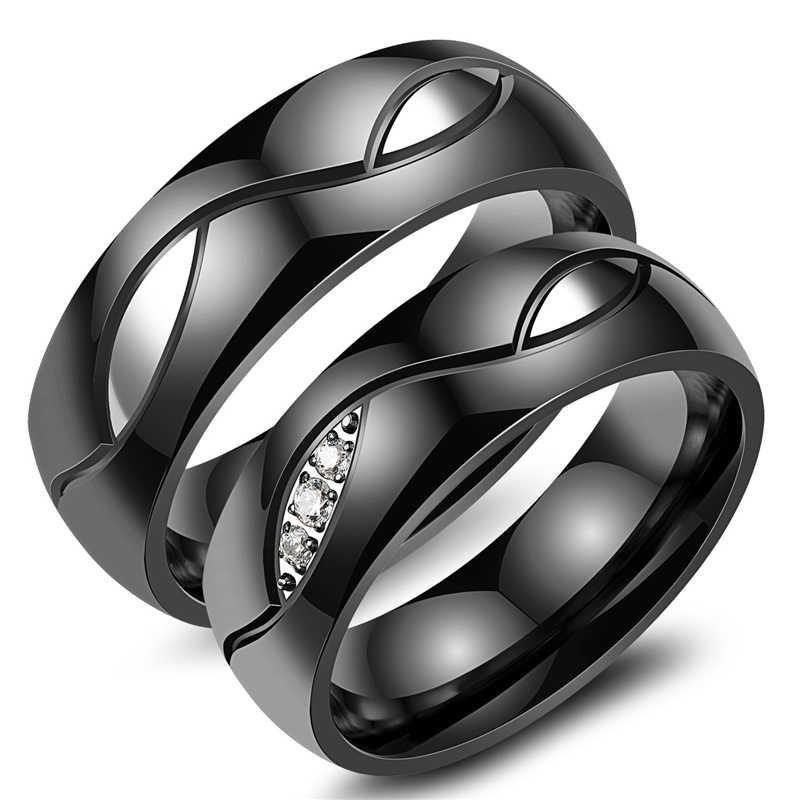 Nuevos anillos Punk de cristal dorado para mujeres y hombres Simple pareja de anillos bisutería de moda anillo de compromiso negro amante anillo de compromiso