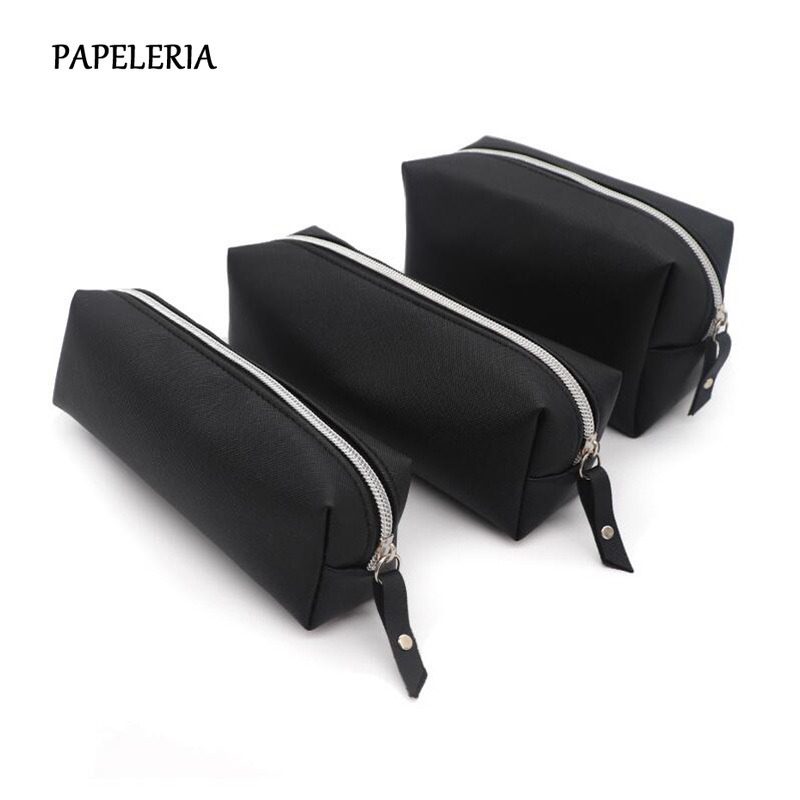 Black Pencil Case For Girls School PU Leather Big Capacity Pencil Bag Pencilcase School Supplies Stationery Gifts