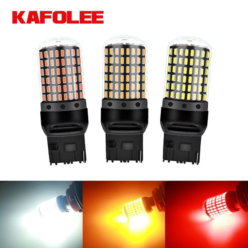 GZKAFOLEE 1 шт. 2800LM 7440 7443 лампа без ошибок T20 W21W W21/5 Вт светодиодный WY21W светодиодный лампы Автомобильный тормоз обратного светильник лампы сигнал...