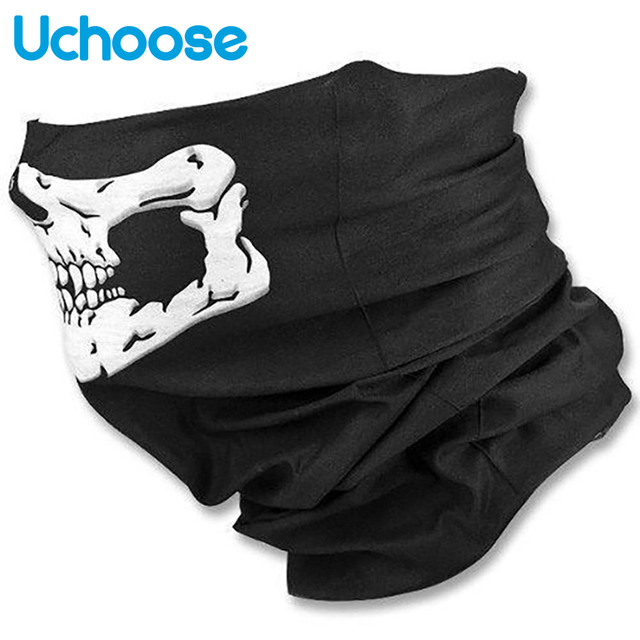 Outdoor Motorcycle Half Face Mask Skull Ghost Moto Mouth Face Masks Balaclava Shield Neck Protective Biker Scarf Masquerade