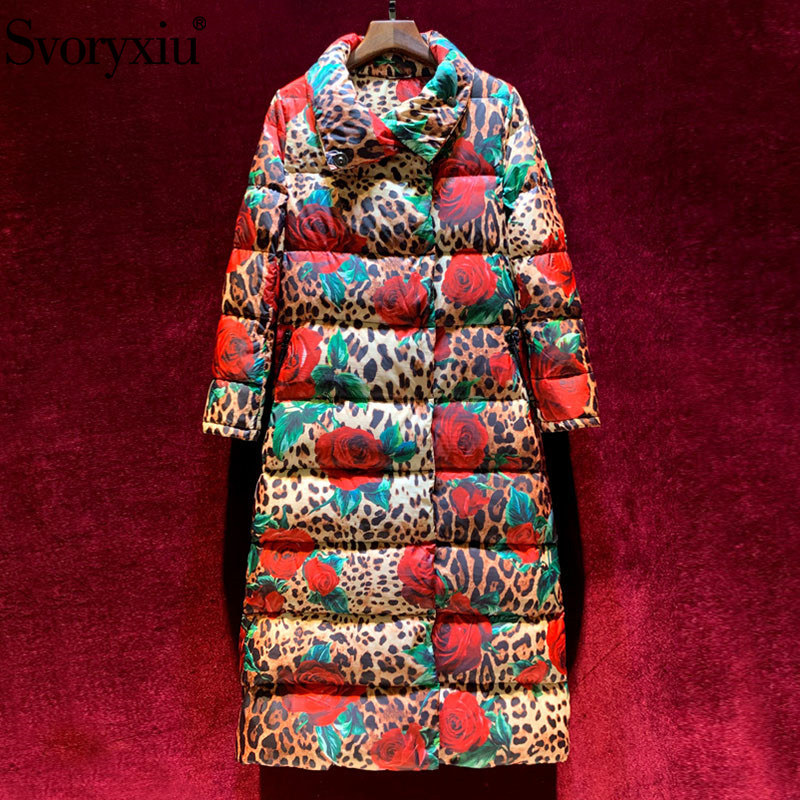 Svoryxiu Runway High End Winter White Duck Down Long Down Jackets Women's Fashion Leopard Rose Print Outerwear Down Jacket 2019