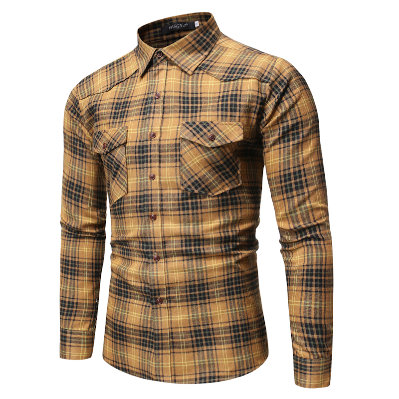 Brand Plaid Shirt Men 2019 Fashion Double Pocket Long Sleeve Lapel Casual Shirts IT Man Classic Wild Cotton Hip Hop Streetwear