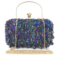 Ougger Women's Clutches Little Shoulder Bags Blue Polyester Fashion Claassic England Style Ball Bag with Tassel